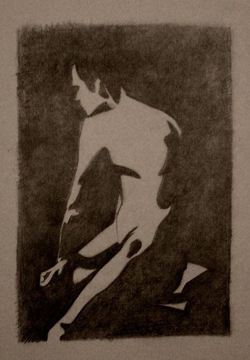 Peter McClory, Male Figure Light Shapes Study (from life), Graphite on Sketch paper, 20 x 25cm