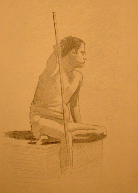 Peter McClory, Male Figure Sketch, Graphite on Sketch paper, 28 x 35cm