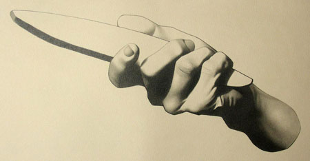 Peter McClory, Hand Holding a Whetstone (after Charles Bargue), Graphite on Canson paper, 35 x 23cm