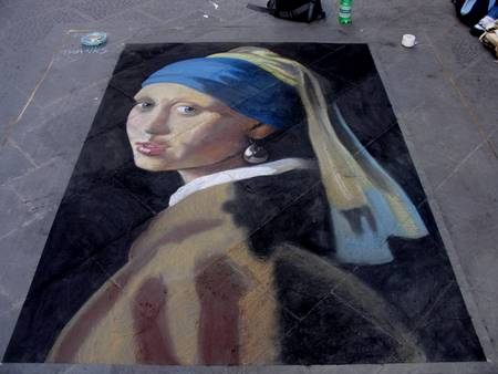 Peter McClory, Girl With a Pearl Earing after Jan Vermeer, Chalk on Street in Florence Italy (Street Painting), 240 x 160cm