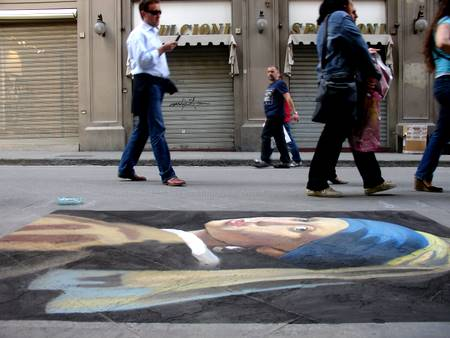 Girl with a Pearl Earing - Street Painting by Peter McClory