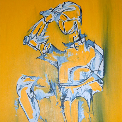 Abstract figurative painting by Peter McClory in contrasting Blue and vivid yellow oil and acrylic paint mixed