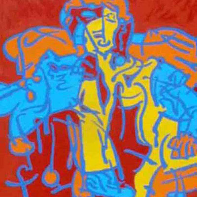 Abstract figurative acrylic painting by Peter McClory. Mum sat in an armchair with a glass of wine.