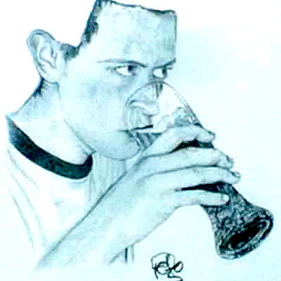 Peter McClory - Graphite Self Portrait from Germany, drinking White Beer