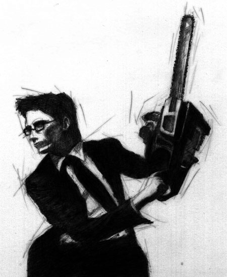 White Collar Weapons Chainsaw Man - Graphite on Paper by Peter McClory